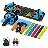 Aurorast Fitness Workout Set 4 Pezzi- Elastici Fitness | Push-up Board 13 in 1| AB Wheel Roller...