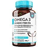 Omega 3 Olio di Pesce da 2000 mg - 660 mg EPA e 440 mg DHA per Porzione - 240 SoftGel Capsule di...