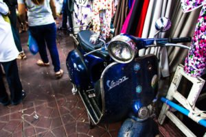 an old vespa piaggio in bangkok: they sell them refurbished in Chinatown